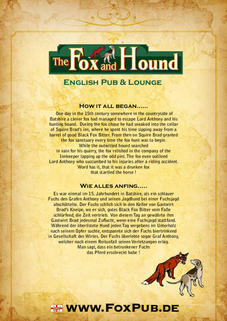 Fox Restaurant Menu